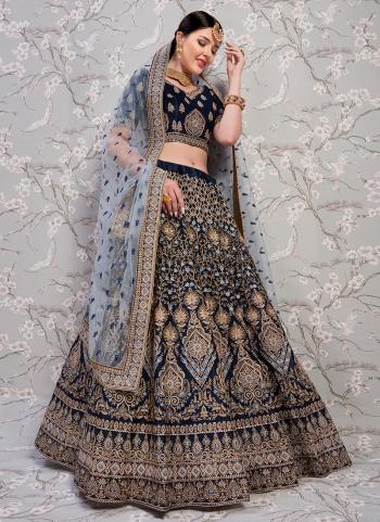 Buy Online Wedding Wear Blue Satin Thread Work Lehenga Choli