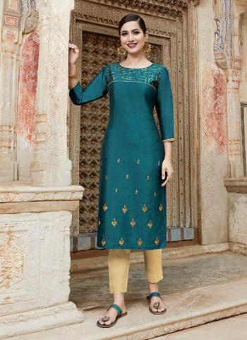 Blue Silk Daily Wear Embroidery Work Kurti With Pant