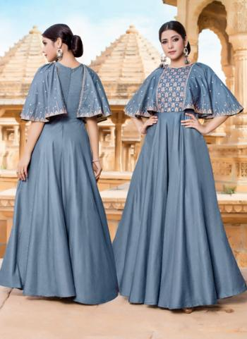 Blue Silk Festival Wear Embroidery Work Gown