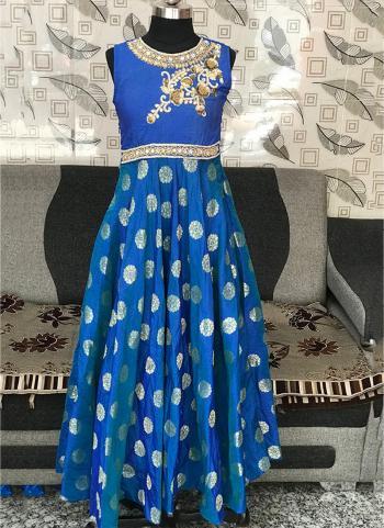 Blue Silk Festival Wear Embroidery Work Kids Suit