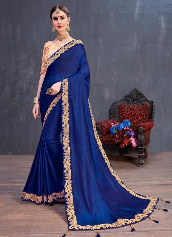 Blue Silk Party Wear Coading Work Saree