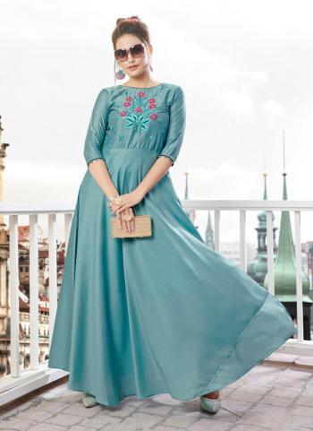 Blue Silk Party Wear Embroidery Work Kurti