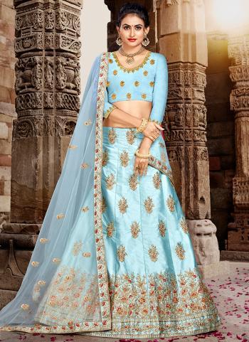 Blue Silk Party Wear Embroidery Work Lehenga Choli