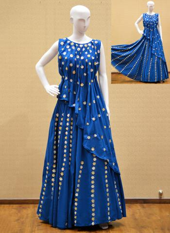 Blue Silk Reception Wear Hand Work Salwar Suit