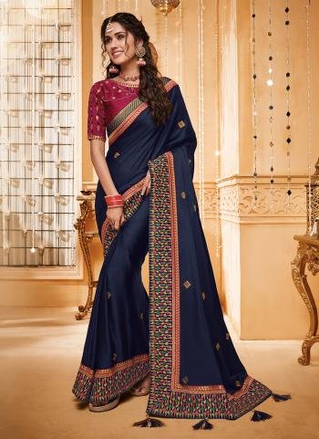 Indian Wedding Wear Blue Silk Border Work Saree