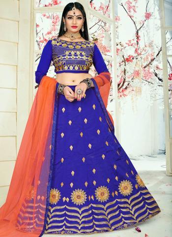 Blue Tapeta Silk Festival Wear Embroidery Work Lehenga Suit