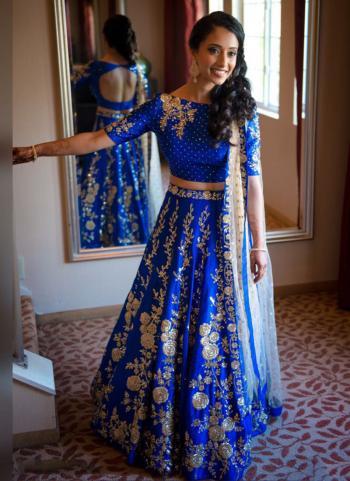 Blue Tapeta Silk Party Wear Heavy Embroidery Work Lehenga Choli