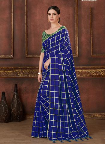 Blue Two Tone Silk Regular Wear Printed Work Saree