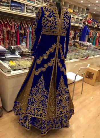 Blue Velvet Reception Wear Heavy Embroidery Work Lehenga Suit