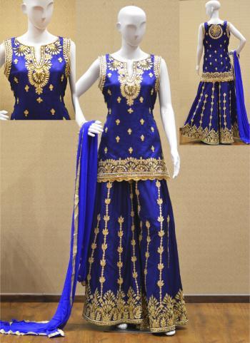 Blue Silk Gota Patti Work Wedding Wear Sharara Suit
