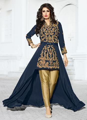 Bridal Wear Crepe Silk Neavy Blue Hand Work Salwar Suit