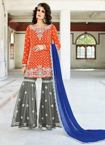 Bridal Wear Crepe Silk Orange Hand Work Salwar Suit