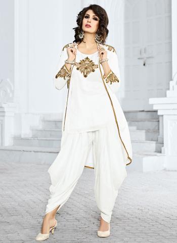Bridal Wear Satin White Hand Work Salwar Suit