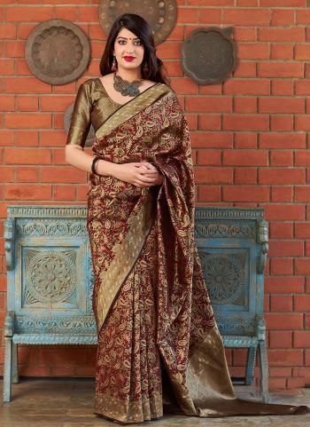 Banarasi Silk Brown Traditional Wear Weaving Saree