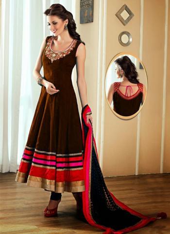 Brown Banglori Satin Party Wear Embroidery Work Anarkali Style