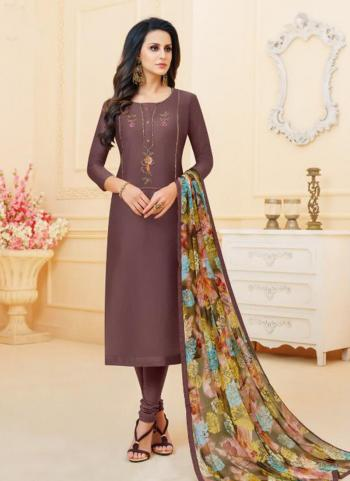 Brown Cotton Chanderi Daily Wear Embroidery Work Churidar Suit