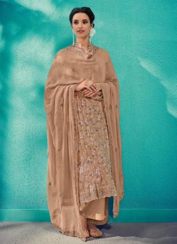 Brown Cotton Festival Wear Embroidery Work Palazzo Suit
