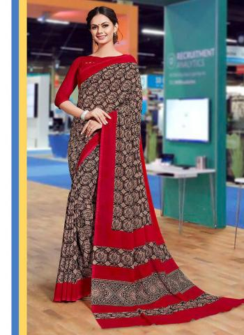 Brown Fancy Daily Wear Printed Work Saree