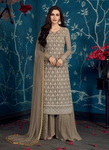 Festival Wear Brown Georgette Embroidery Work Palazzo Suit