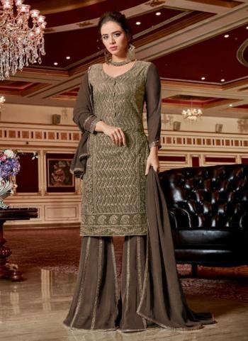 Brown Georgette Party Wear Embroidery Work Sharara Suit