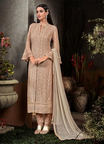 Brown Georgette Party Wear Embroidery Work Straight Salwar Suit