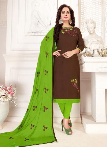 Brown Glace Cotton Daily Wear Embroidery Work Churidar Suit