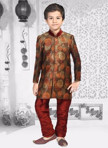 Brown Jacqaurd Festival Wear Digital Print Kids Kurta Pajama