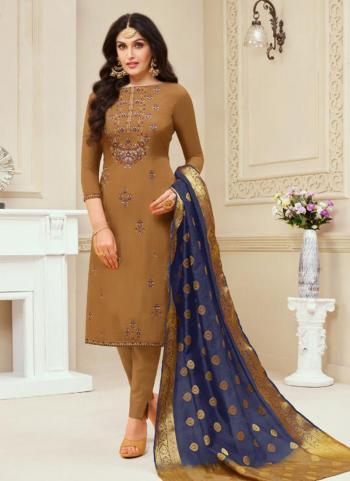 Brown Jam Cotton Regular Wear Embroidery Work Churidar Suit