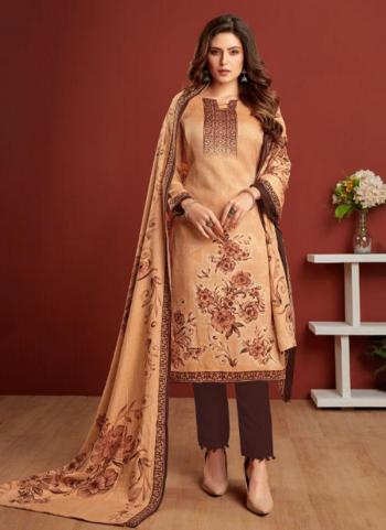 Brown Pashmina Daily Wear Printed Work Straight Suit