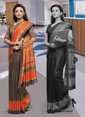 Brown Poly Cotton Daily Wear Printed Work Uniform Saree