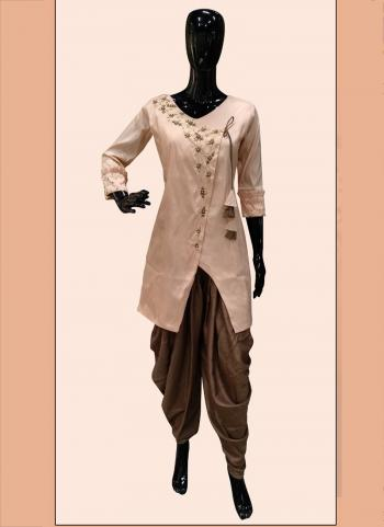 Brown Poly Satin Regular Wear Hand Work Kurti With Dhoti