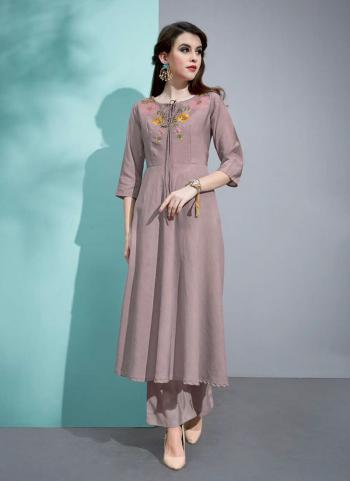 Brown Pure Cotton Silk Regular Wear Embroidery Work Kurti With Palazzo