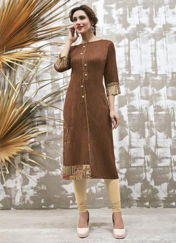 Brown Rayon Khadi Daily Wear Fancy Work Kurti