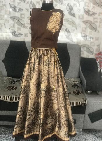 Brown Silk Festival Wear Embroidery Work Kids Suit
