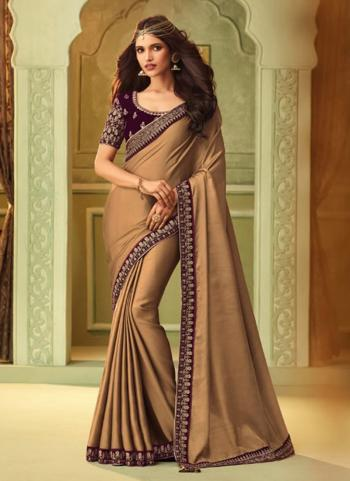 Brown Silk Party Wear Embroidery Work Saree