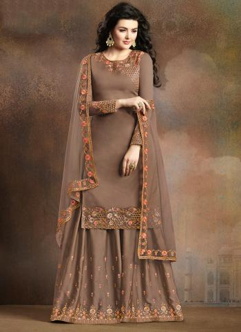 Brown Silk Reception Wear Embroidery Work Sharara Suit