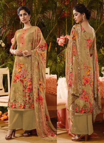Brown Silk Traditional Wear Sequins Work Palazzo Suit