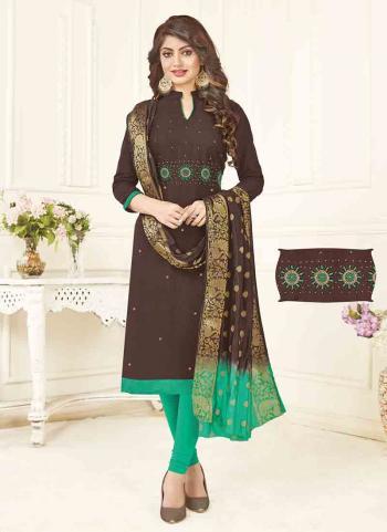 Brown South Cotton Regular Wear Hand Work Churidar Style