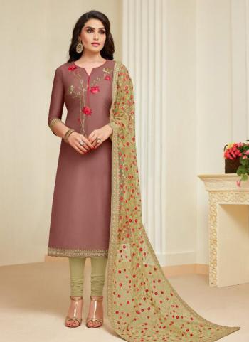 Brown Upada Silk Casual Wear Embroidery Work Churidar Style