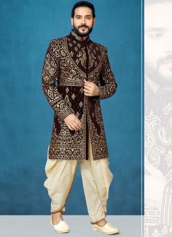 Brown Velvet Wedding Wear Embroidery Work Sherwani