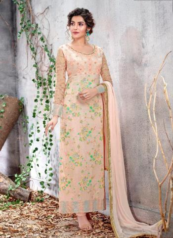Butterscotch Chinnon Party Wear Embroidery Work Churidar Suit