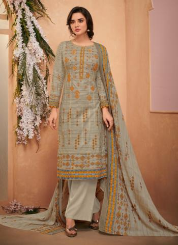Cambric Cotton Grey Embroidery Work Daily Wear Palazzo Suit