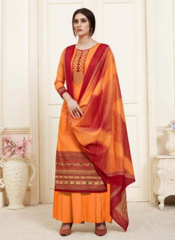 Cambric Cotton Orange Regular Wear Embroidery Work Palazzo Suit