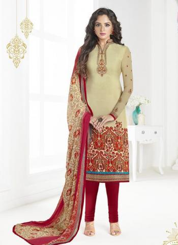 Casual Wear Beige Crepe Embroidery Work Churidar Style