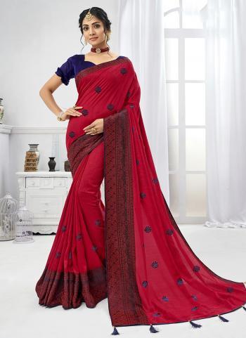 Chiffon Casual Wear Red Butti Work Saree