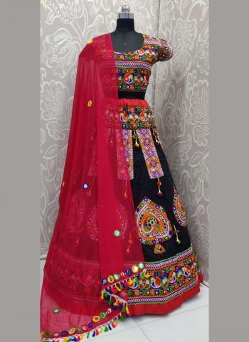 Cotton Black Embroidery Work Festival Wear Lehenga Choli