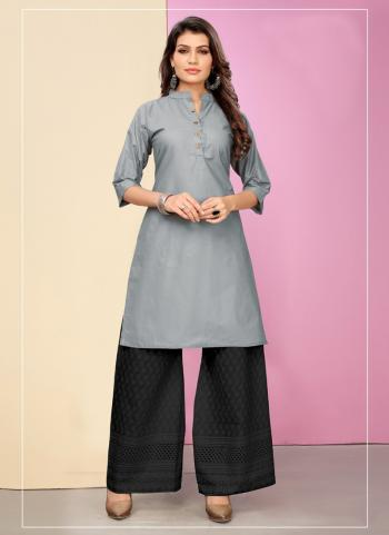 Cotton Daily Wear Grey Plain Kurti With Palazzo