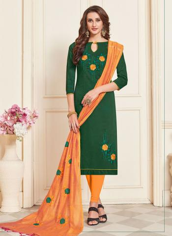 Cotton Green Embroidery Work Regular Wear Churidar Suit