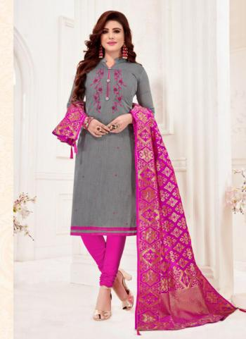 Cotton Grey Embroidery Work Daily Wear Churidar Suit