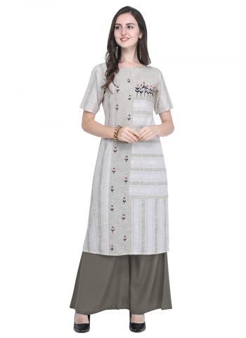 Cotton Grey Regular Wear Printed Kurti